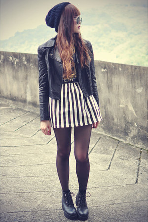 Choies skirt - ankle boots boots - motelrock jacket - round sunglasses