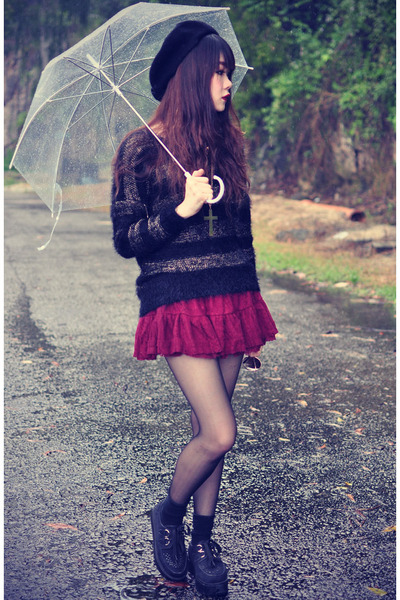 ianywear skirt - creepers shoes - ianywear sweater - round sunglasses