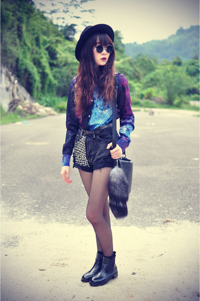 galaxy OASAP shirt - leather boots - Forever21 hat - denim shorts