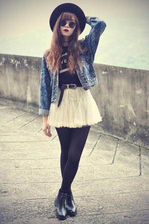 lace skirt Chicwish skirt - leather boots - Osap hat - denim jacket