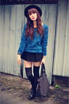 skirt - boots - 3d rose sweater