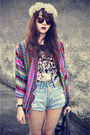 Denim-shorts-sunglasses-t-shirt-cardigan