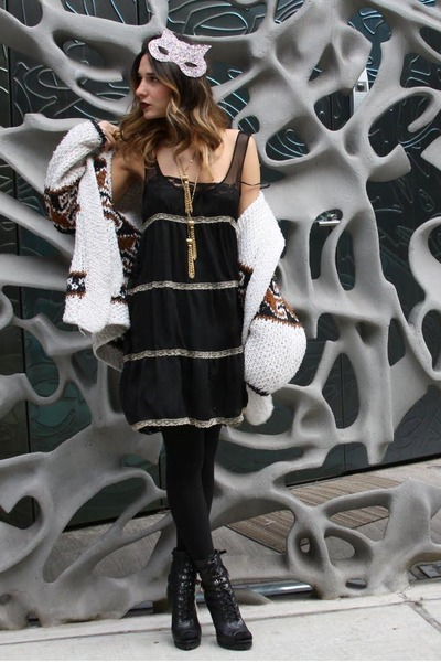 united nude boots - UO dress - Target tights - glitter mask DIY accessories