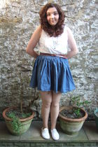 blue H&M skirt - white Primark shoes - brown Primark belt