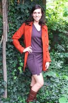 orange Tulle coat - purple Tulle dress - brown Frye boots