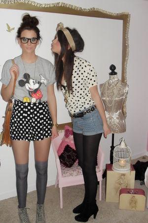vintage t-shirt - Topshop shorts - Primark socks - Miss Selfridge boots - vintag