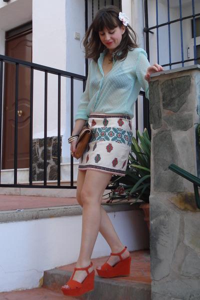 white navajo print Zara skirt - light blue Zara shirt - burnt orange BLANCO bag