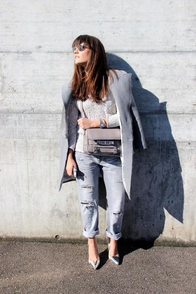 silver PROENZA SCHOULER bag - heather gray grey fur long SANDRO coat