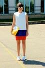 Deep-purple-zara-dress-red-zara-dress-yellow-joseph-bag