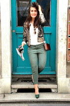 sequin gold SANDRO jacket - The Kooples shirt - see through Reiss bag