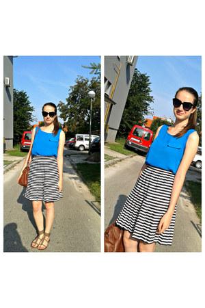 black OASAP sunglasses - blue dresslily top