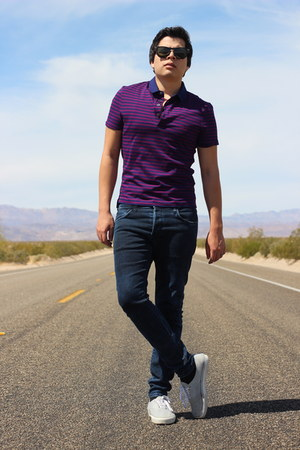 deep purple cotton Burberry shirt - navy cotton H&M jeans