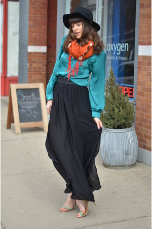 black American Apparel hat - black Mango skirt - teal unknown brand blouse