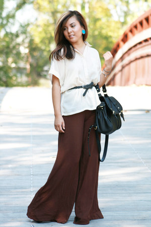 dark brown Steve Madden bag - light brown Nordstrom top - brown Forever 21 pants