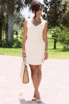 light yellow vintage find banana republic dress - tan Gucci bag