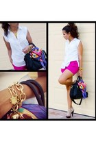 magenta H&M shorts - white BCBG top - light brown bakers shoes sandals
