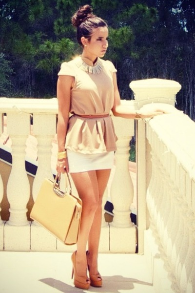 camel Gucci bag - white mini Express skirt - camel peplum Marshalls blouse