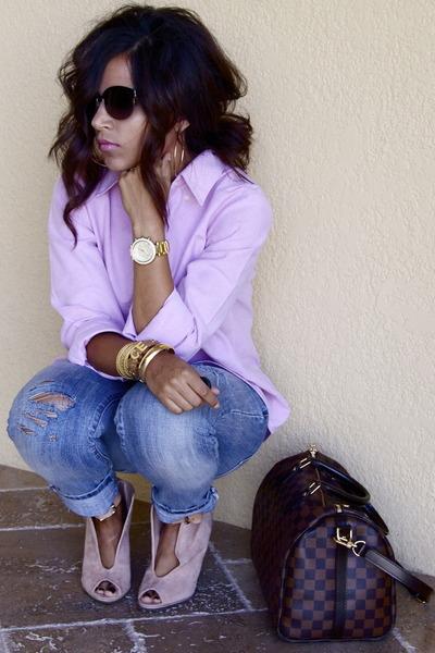light pink Ralph Lauren top - light pink Zigi wedges