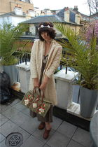 beige vintage jacket - brown Jigsaw dress - green Anthropologie accessories - br