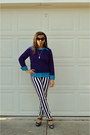 Deep-purple-purple-delias-sweater-black-striped-tripp-nyc-pants