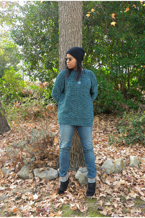 teal BDG sweater - black bullhead denim PacSun jeans