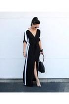 black Gucci purse - black maxi BCBG dress - white carrera sunglasses