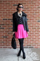 leather vince jacket - Elliott Lucca purse - polka dot JCrew top