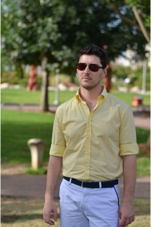 light yellow Zara shirt - white Zara shorts