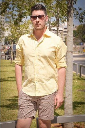yellow Zara shirt - maroon Zara shorts - navy Zara loafers