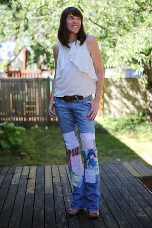 tan wedges Report shoes - sky blue bootleg Current Elliott jeans