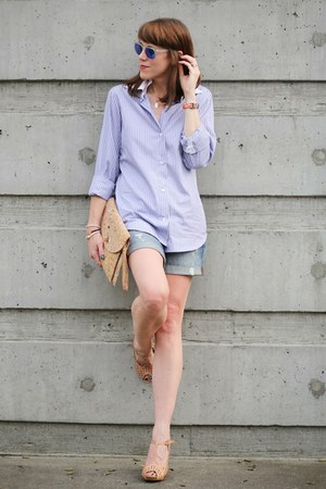 sky blue oxford Kal Rieman shirt - sky blue denim Gap shorts