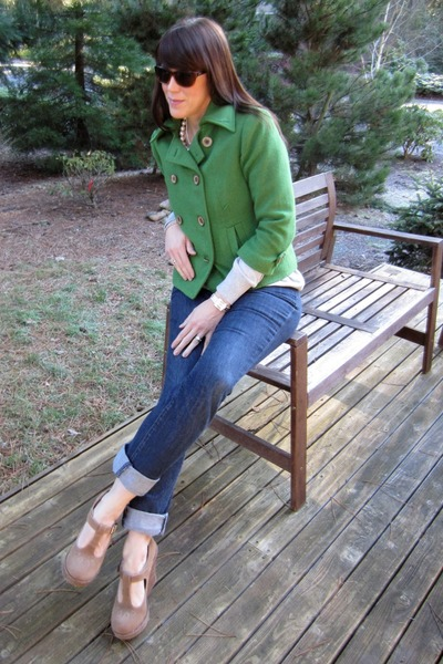 wool pea coat Cabi jacket - buckle shoes Shoe Dazzle shoes