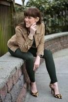 forest green Zara jeans - camel corduroy Yanuk jacket - camel pumps BCBG heels