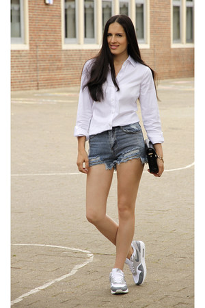 white Zara shirt - black Mango bag - sky blue Sheinside shorts