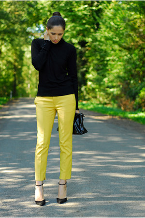 yellow Zara pants - black Zara heels - yellow Primark earrings
