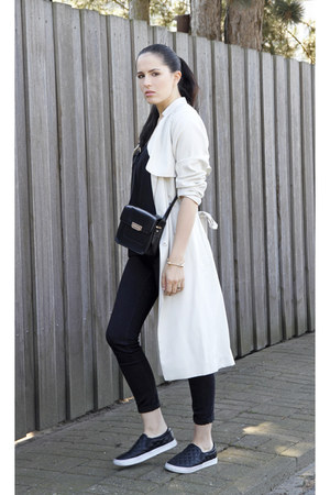 black Mango bag - cream H&M coat - black Mango top - black H&M flats