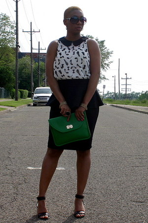 green bag - black Peplum skirt - black sandals - multi print top