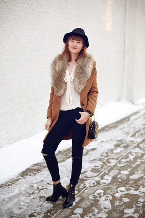 Zara coat - new look bag - H&M blouse