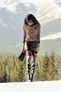 Black-over-the-knee-aldo-boots-brown-animal-print-ardene-top