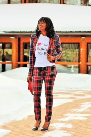 white customized HiCustom shirt - red tartan suzy jacket - red tartan Vexy pants