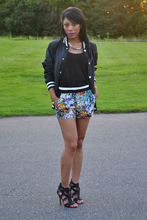 black baseball jacket H&M jacket - carrot orange floral shorts shorts