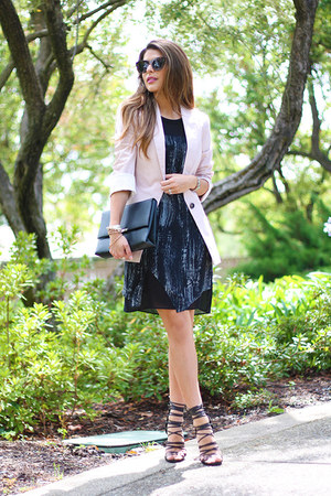 light pink Zara blazer - black Forever 21 dress - black faux leather H&M bag