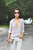 silver pastel plaid H&M shirt - ivory Zara jeans
