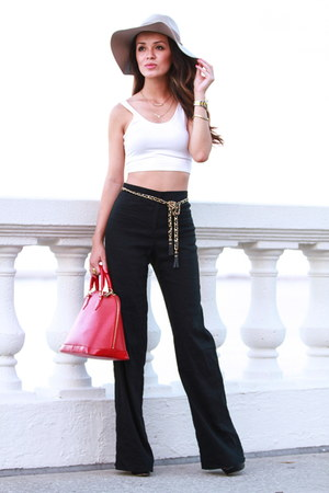 beige Forever 21 hat - crop Forever21 top - Bebe pants