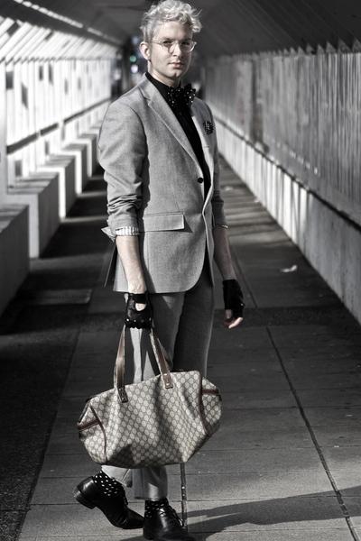 black kenneth cole new york shoes - silver Club Monaco suit - black Club Monaco
