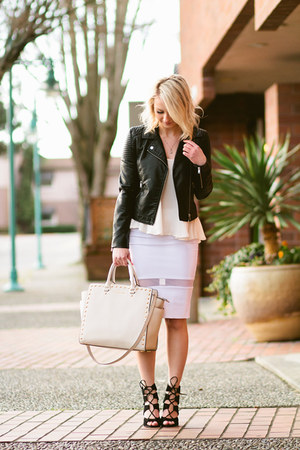 blouse Nordstrom BP shirt - leather Forever 21 jacket - Michael Kors bag