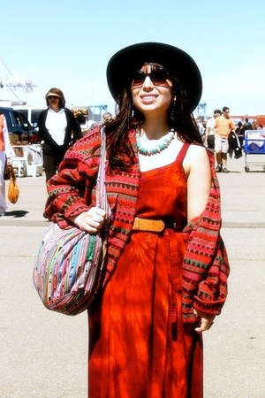 red Street Vendor dress - black vintage hat
