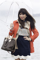 navy Anthropologie skirt - red banana republic jacket - navy madewell scarf