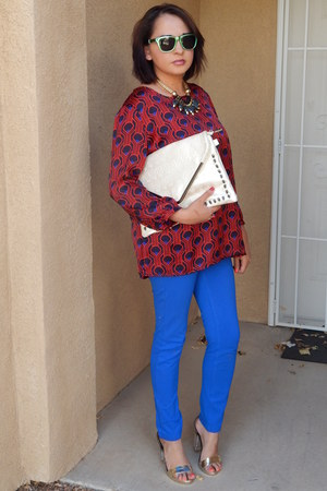 blue papaya pants - red Target shirt - gold GoJane heels