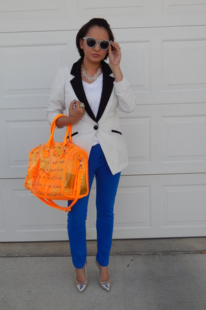 carrot orange Agaci bag - blue papaya pants - silver BCBGeneration heels
